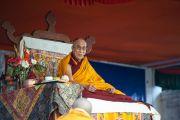 Его Святейшество Далай-лама выступает в Центральной тибетской школе. Шимла, штат Химачал Прадеш, Индия. 18 марта 2014 г. Фото: Тензин Чойджор (офис ЕСДЛ)