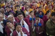 В монастыре Ганден Джангце ожидают прибытия Его Святейшества Далай-ламы. Мундгод, Индия. 26 декабря 2014 г. Фото: Тензин Чойджор (офис ЕСДЛ)