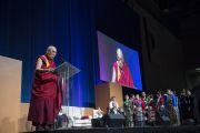 Его Святейшество Далай-лама обращается к членам тибетского сообщества. Ирвайн, штат Калифорния, США. 7 июля 2015 г. Фото: Тензин Чойджор (офис ЕСДЛ)