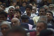 """Публика в зале слушает речь Его Святейшества Далай-ламы на церемонии вручения премии им. Абдула Калама """"Сева Ратна"""". Ченнаи, штат Тамилнад, Индия. 9 ноября 2015 г. Фото: Тензин Чойджор (офис ЕСДЛ)"""