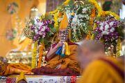 Дээрхийн Гэгээнтэн Далай Лам даншүг өргөх ёслолын үеэр. Энэтхэг, Карнатака, Билакуппе, Дашлхүнбо хийд. 2016.01.01. Гэрэл зургийг Тэнзин Чойжор (ДЛО)