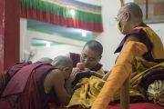 Монахи совершают традиционные подношения Его Святейшеству Далай-ламе во время церемонии дарования полных монашеских обетов в храме Дрепунг Лачи. Мундгод, штат Карнатака, Индия. 2 июля 2016 г. Фото: Тензин Чойджор (офис ЕСДЛ)