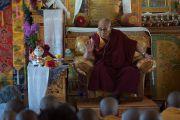 Его Святейшество Далай-лама дарует наставления в женском монастыре, входящем в Ладакскую ассоциацию женских монастырей. Ле, Ладак, штат Джамму и Кашмир, Индия. 17 августа 2016 г. Фото: Тензин Чойджор (офис ЕСДЛ)