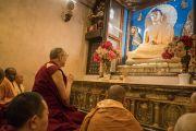Его Святейшество Далай-лама молится у статуи Будды Шакьямуни в храме Махабодхи. Бодхгая, штат Бихар, Индия. 15 января 2017 г. Фото: Тензин Чойджор (офис ЕСДЛ)