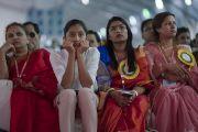 Анхдугаар хуралд оролцогсод Дээрхийн Гэгээнтэн Далай Ламын илтгэлийг сонсож байгаа нь. Энэтхэг, Андра Прадеш, Вижейвада. 2017.02.10. Гэрэл зургийг Тэнзин Чойжор (ДЛО)