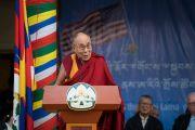 Дээрхийн Гэгээнтэн Далай Лам Америкийн конгрессийн гишүүдийг хүлээн авах олон нийтийн уулзалтанд үг хэлж байгаа нь. Энэтхэг, ХП, Дарамсала. 2017.05.10. Гэрэл зургийг Тэнзин Чойжор (ДЛО)
