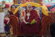 Его Святейшество Далай-лама во время церемонии открытия женского монастыря Дуджом. Ше, Ладак, штат Джамму и Кашмир, Индия. 26 июля 2017 г. Фото: Тензин Чойджор (офис ЕСДЛ)
