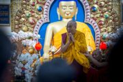 Его Святейшество Далай-лама приветствует верующих в начале третьего дня четырехдневных учений, организованных по просьбе буддистов из Юго-Восточной Азии. Дхарамсала, Индия. 31 августа 2017 г. Фото: Тензин Пунцок (офис ЕСДЛ)