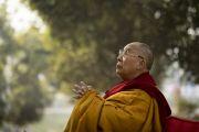 Его Святейшество Далай-лама смотрит во время молебна на ступу Махабодхи. Бодхгая, штат Бихар, Индия. 17 января 2018 г. Фото: Мануэль Бауэр.