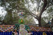Вид на дерево бодхи и ступу Махабодхи во время молебна с Его Святейшеством Далай-ламой. Бодхгая, штат Бихар, Индия. 17 января 2018 г. Фото: Тензин Чойджор.