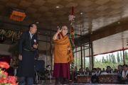 Его Святейшество Далай-лама выступает с обращением во время торжеств, организованных по случаю его 83-летия. Ле, Ладак, штат Джамму и Кашмир, Индия. 6 июля 2018 г. Фото: Тензин Чойджор.